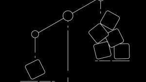 Esboço de uma balança mostra o prato com apenas um cubo pesando mais do que um prato com cinco cubos
