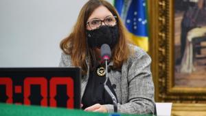 A deputada Bia Kicis, presidente da CCJ na Câmara, durante pronunciamento