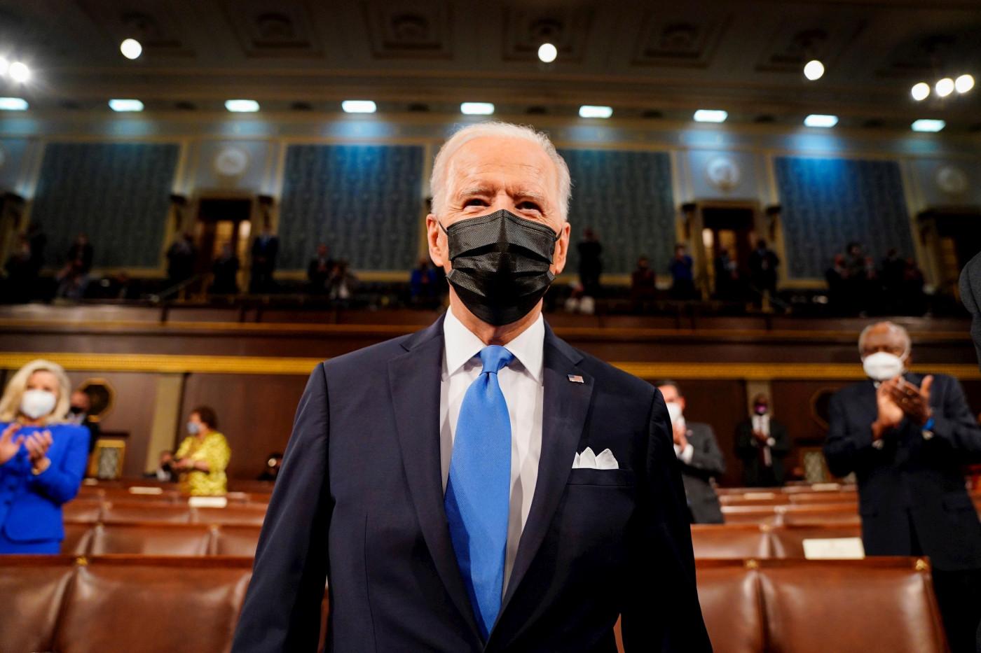 O presidente dos Estados Unidos, Joe Biden, durante discurso dos 100 primeiros dias do governo