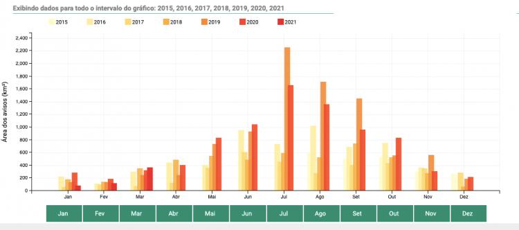 Gráfico com a quantidade de quilômetros quadrados de floresta desmatada