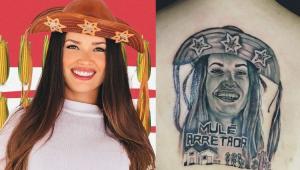 Juliette e tatuagem que fã fez do rosto dela nas costas