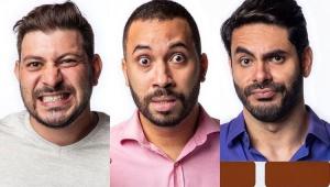 Caio, Gilberto e Rodolffo com cara de assustados