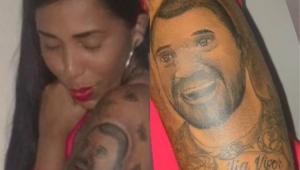 Janielly Nogueira com a tatuagem de Gilberto