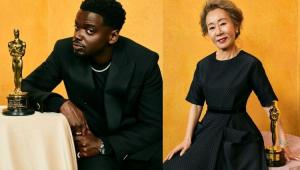Daniel Kaluuya e Yuh-jung Youn com a estatueta do Oscar