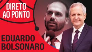 """Montagem com o logo do """"Direto ao Ponto"""" mostra Eduardo Bolsonaro e o apresentador Augusto Nunes"""