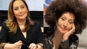 Fotos da apresentadora Sonia Abrão de cabelo liso e usando uma peruca black power