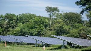 Placas de energia solar na fazenda solar da Johnson & Johnsons na América do Sul, localizada em São José dos Campos