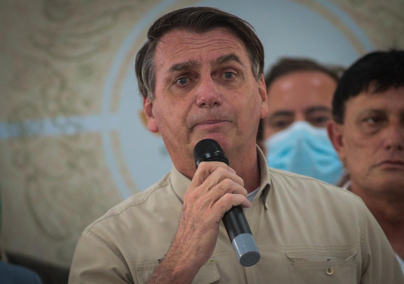 O presidente da república, Jair Bolsonaro, durante entrega alimentos nesta sexta-feira(23) em Belém do Pará