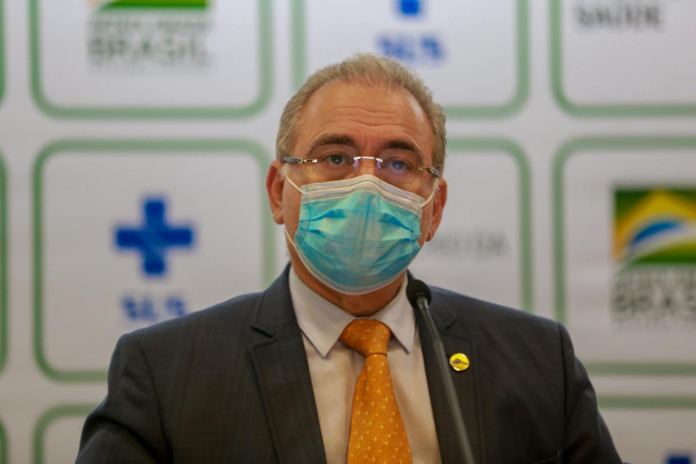 O Ministro da Saúde Marcelo Queiroga com seus secretários concedem entrevista coletiva