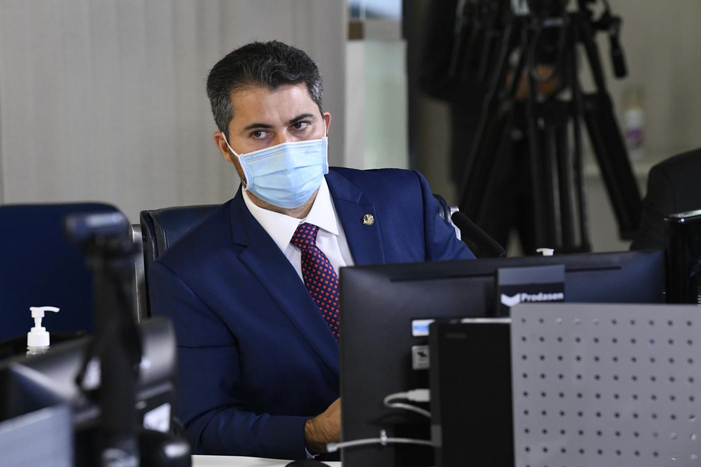O senador Marcos Rogério, líder do DEM na Casa, durante sessão parlamentar