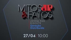Arte com fundo cinza mostra o logo do Fórum Mitos & Fatos e faz convite para evento sobre geração distribuída, nesta terça-feira, 27 de abril, às 10h