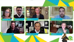 Conferência virtual transmitida pela internet mostra divide presidenciáveis em duas fileiras, com Circo Gomes e Eduardo Leite em cima, Haddad, João Doria e Luciano Huck embaixo
