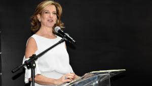 A Secretária Estadual de Desenvolvimento Social, Célia Parnes, discursando