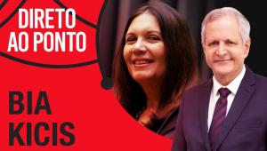 montagem de foto da deputada bia kicis e do apresentador Augusto Nunes com o nome do programa Direto ao Ponto