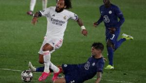 Marcelo durante Real Madrid x Chelsea pela Liga dos Campeões
