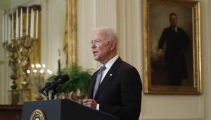 O presidente dos EUA Joe Biden durante pronunciamento