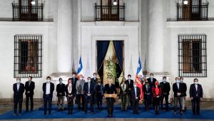 O presidente do Chile, Sebastián Piñera, se dirige à nação após eleições constituintes