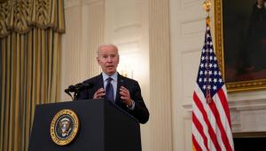 Presidente dos Estados Unidos, Joe Biden, anuncia novas metas de vacinação contra a Covid-19 em coletiva de imprensa na Casa Branca