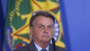 O presidente da república, Jair Bolsonaro, durante cerimônia no Palácio do Planalto