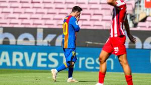 Messi durante partida entre Barcelona e Atlético de Madrid pelo Campeonato Espanhol