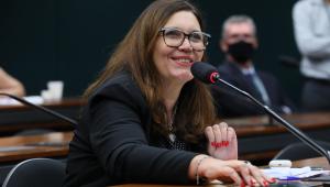 A deputada federal Bia Kicis durante audiência na Câmara sobre voto impresso