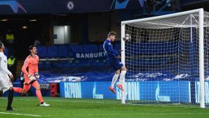 Timo Werner fazendo o gol da classificação do Chelsea contra o Real Madrid