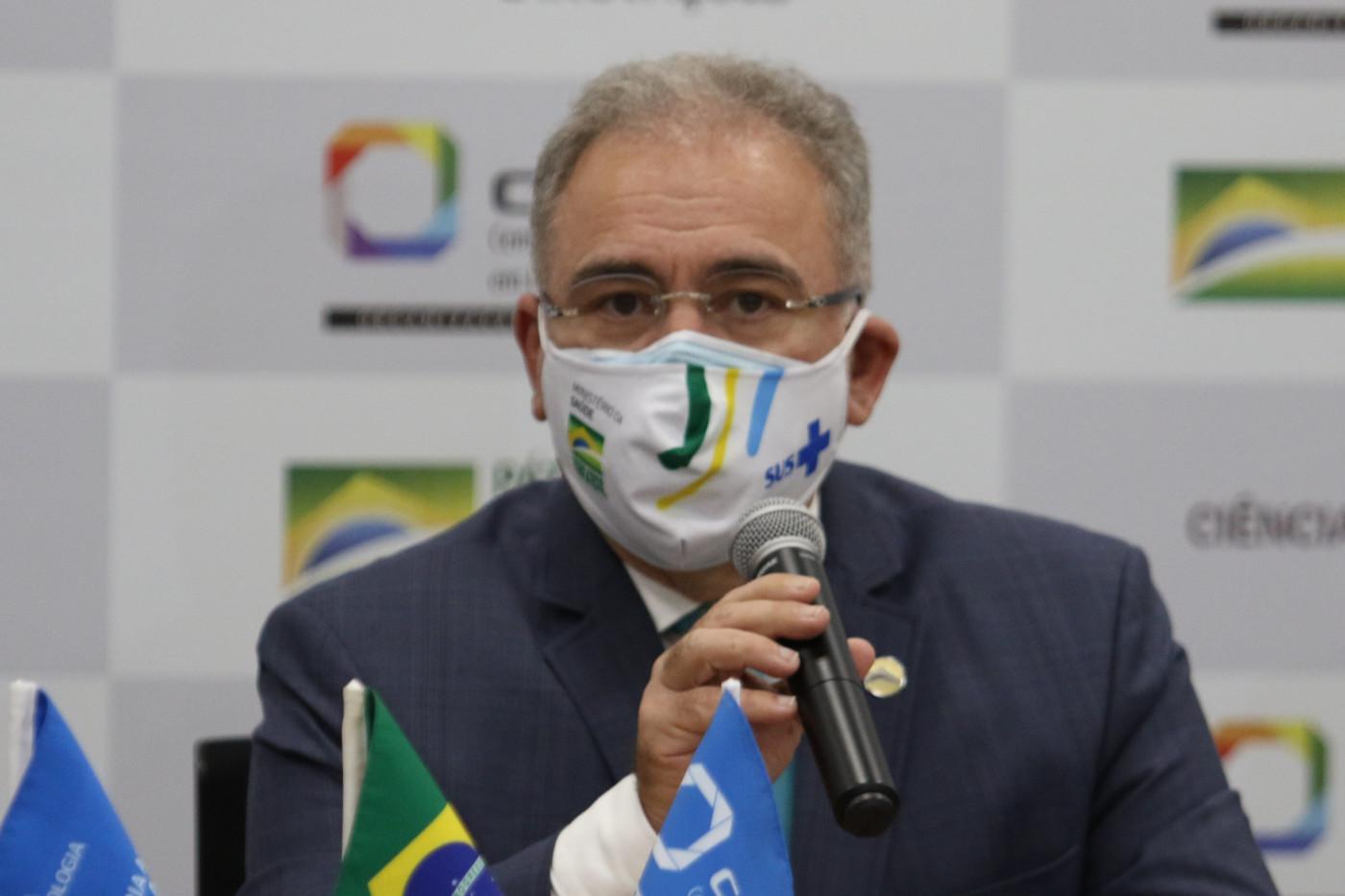 O ministro da Saúde, Marcelo Queiroga, durante pronunciamento