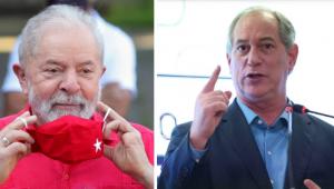 Montagem de fotos de Lula colocando máscara vermelha e Ciro Gomes com o dedo levantado falando em um palanque