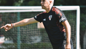 Hernán Crespo durante treinamento no São Paulo