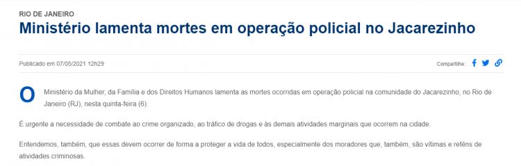 Ministério da Mulher se pronuncia sobre mortes no Jacarezinho