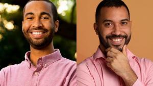 Richie Floyd e Gilberto Nogueira com uma camisa rosa
