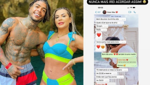 MC Kevin abraçado com Deolane Bezerra e ao lado mensagens que eles trocaram no celular