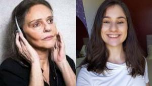 Angela Ro Ro com a mão no ouvido e Mayara Serra de Souza sorrindo