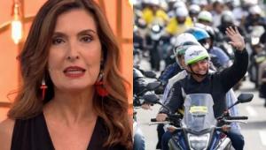 Fátima Bernardes falando e ao lado Bolsonaro na moto durante a carreata