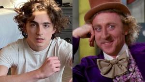 Timothée Chalamet e ao lado Gene Wilder caracterizado como Willy Wonka