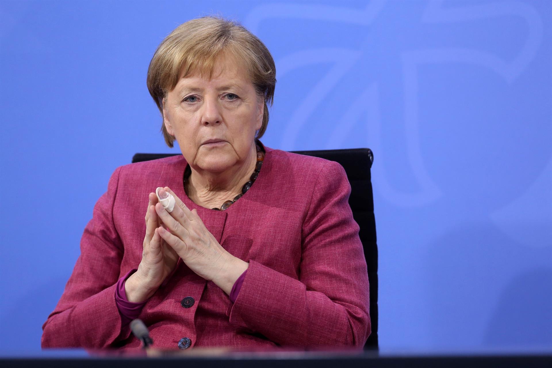 A chanceler alemã, Angela Merkel (CDU), em entrevista coletiva