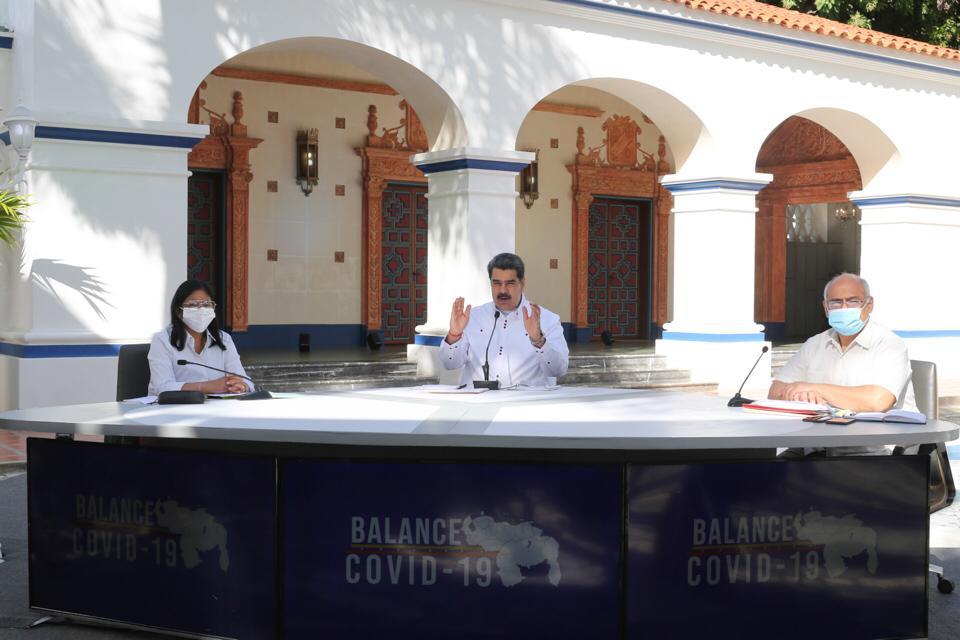 O presidente da Venezuela, Nicolás Maduro, apresenta balanço da Covid-19 no país