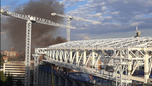 incêndio no estádio Santiago Bernabéu