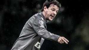 Fernando Diniz durante treino no Santos