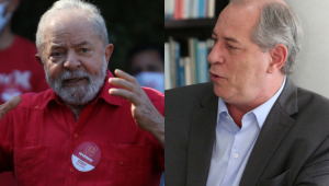 Imagens do ex-presidente Lula gesticulando e Ciro Gomes olhando para o lado