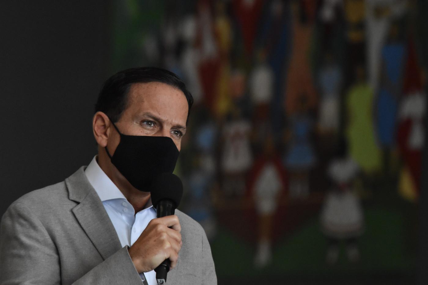 João Doria (PSDB), governador de São Paulo, participa de coletiva de imprensa