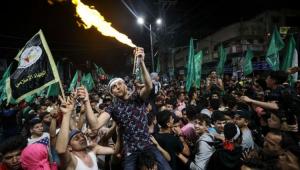 Manifestantes palestinos reivindicam vitória do Hamas sobre Israel