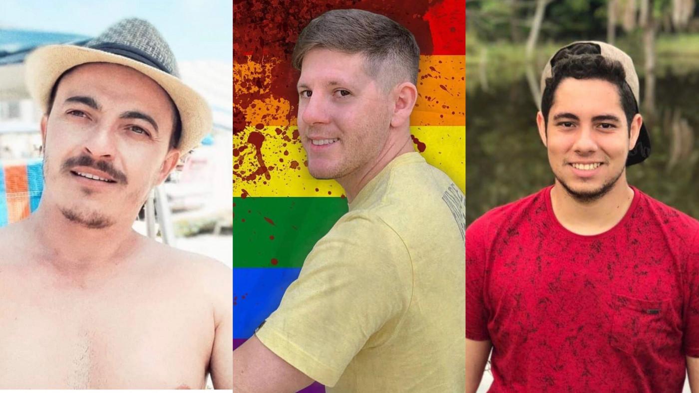 Montagem com fotos de três homens