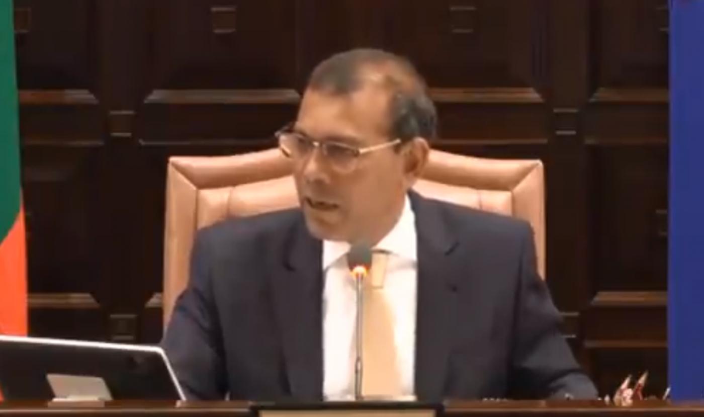 Ex-presidente das Maldivas, Mohamed Nasheed, discursando no Parlamento do país