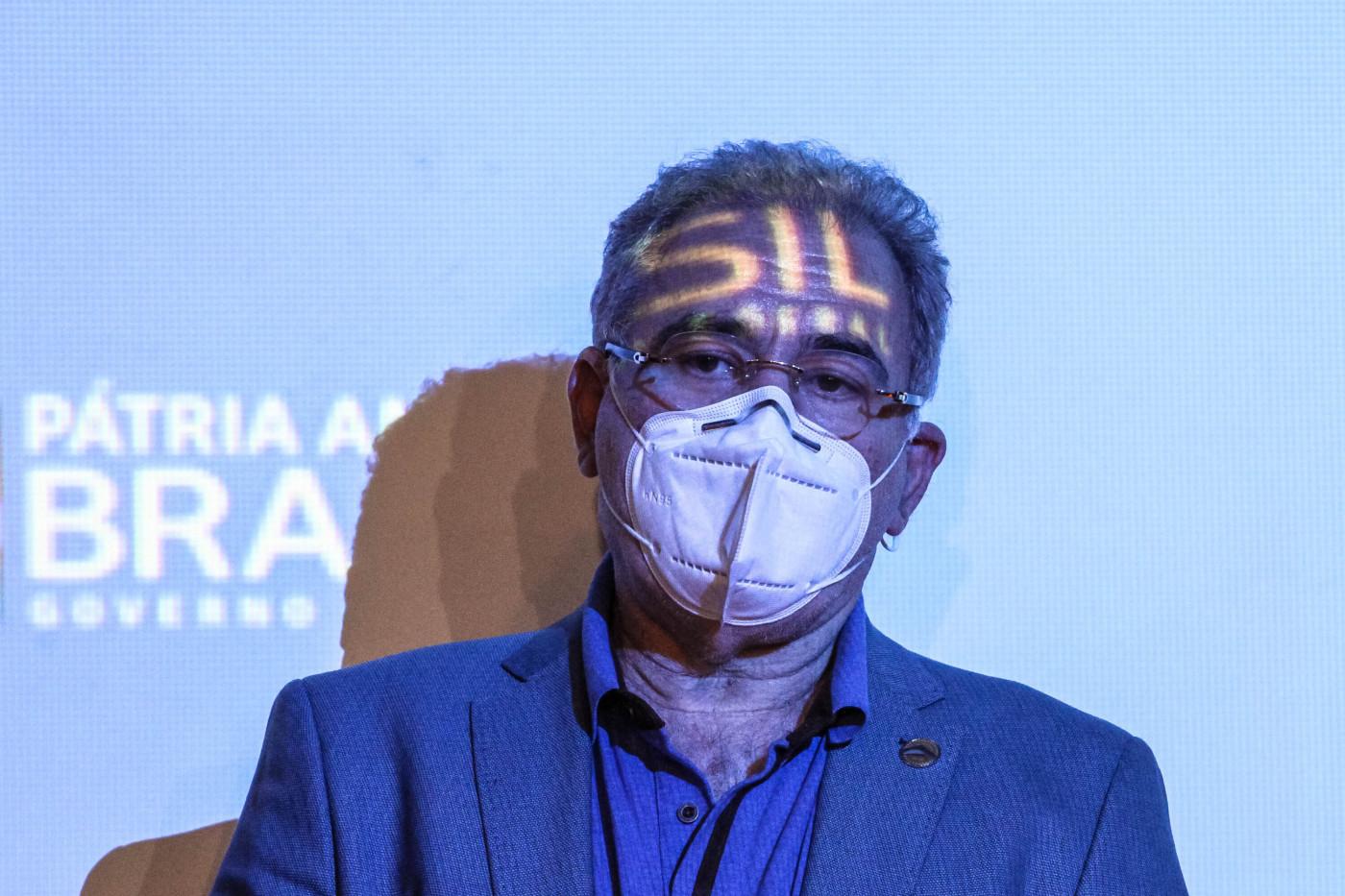 O ministro da Saúde, Marcelo Queiroga, falou à imprensa após acompanhar a chegada das novas doses da vacinas Astrazeneca