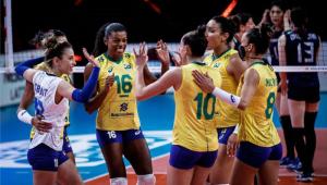 A seleção feminina de vôlei venceu o Japão na Liga das Nações