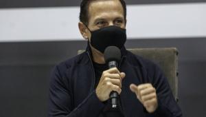 O governador de São Paulo, João Doria (PSDB), durante entrevista coletiva concedida no Palácio dos Bandeirantes