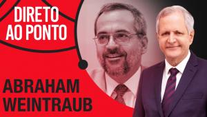 Montagem de Abraham Weintraub e Augusto Nunes, escrito o nome do programa Direto ao Ponto em um fundo vermelho