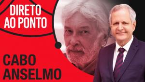 Dois homens brancos com cabelos brancos, Cabo Anselmo e Augusto Nunes, em montagem com o nome do programa Direto ao Ponto