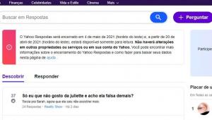 Mensagem no Yahoo Respostas alerta que página será desativada no dia 5 de abril